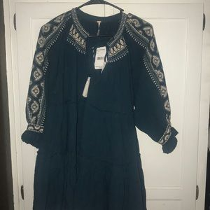 Free people Tunic teal/white Size S NWT